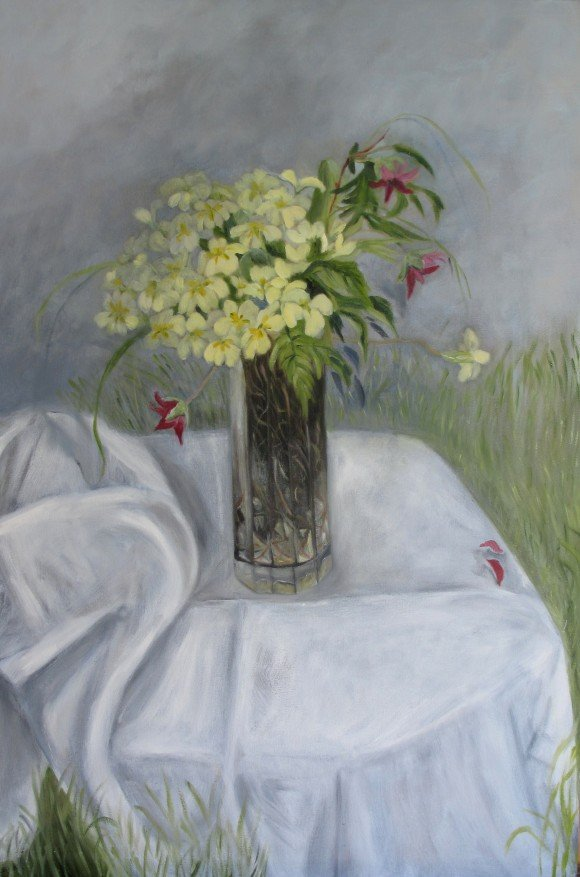 Still Life with Primroses and Salmonberry Flowersoil on canvas